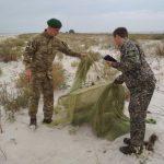 На узбережжі Джарилгацької затоки прикордонники виявили 15 браконьєрських пасток